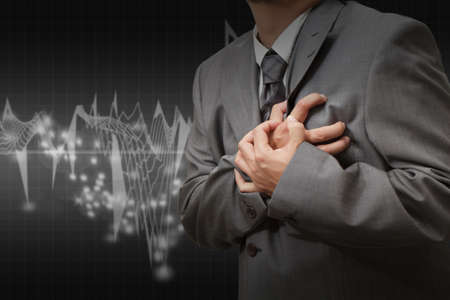 palpitation: Heart Attack and heart beats cardiogram background