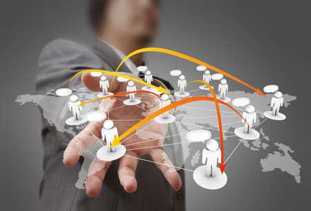mobile communication: Businessman hand holds social network