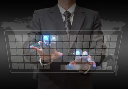 business hand touch virtual keyboard photo