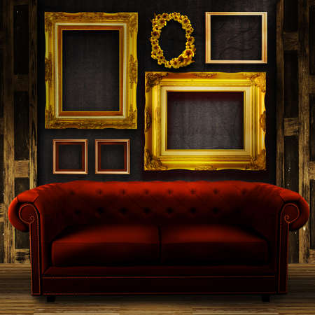 couch: Gallery display - vintage gold frames on an old timber wall and red sofa
