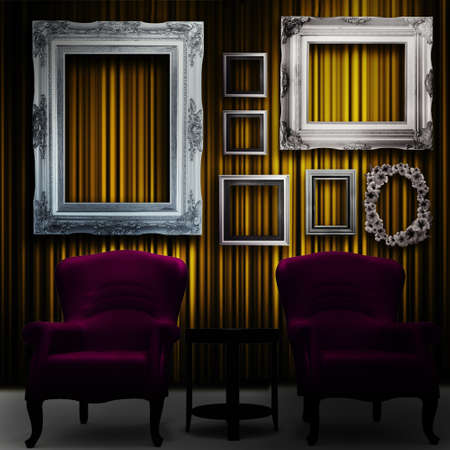 burgundy background: Gallery display - vintage gold frames on an old timber wall and armchairs