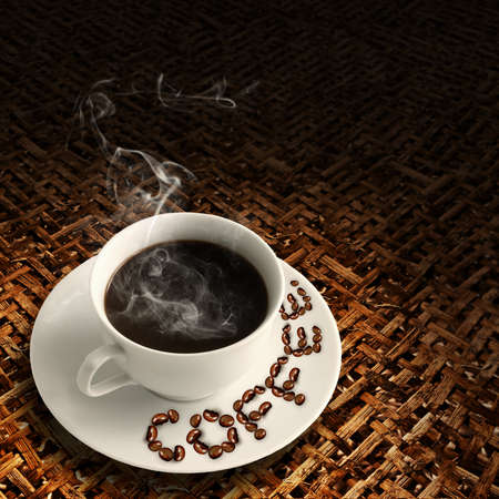 a hot cup of coffee on bamboo wood mesh table and beans photo