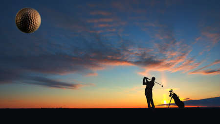 enjoys: A male golfer enjoys an early round during sunrise.