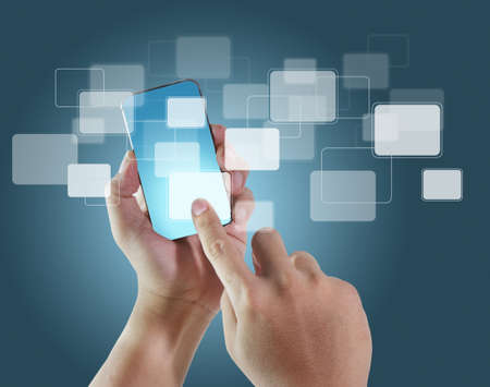 cellular phone call: Mobile phone With hand and blank buttons Stock Photo