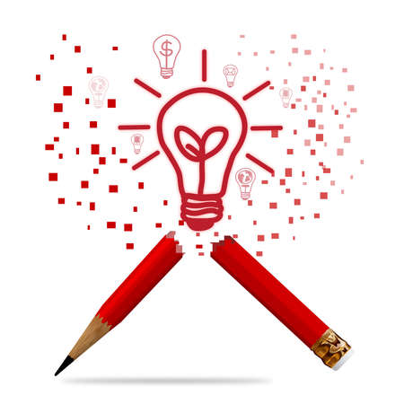 red pencil with light bulb as concept business photo