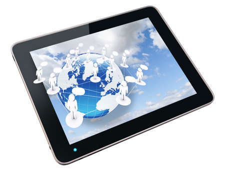 tablet pc and social network sign photo