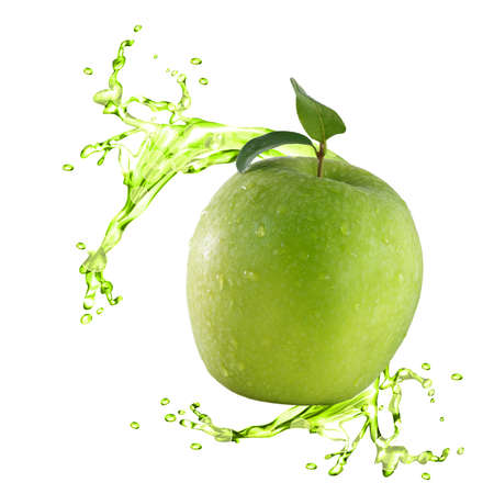 Green apple with juice splash photo