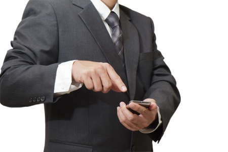 mobile sms: business hand hold Touch screen mobile isolated on white background