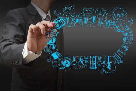сеть: бизнесмен рисования социальной концепции сети
