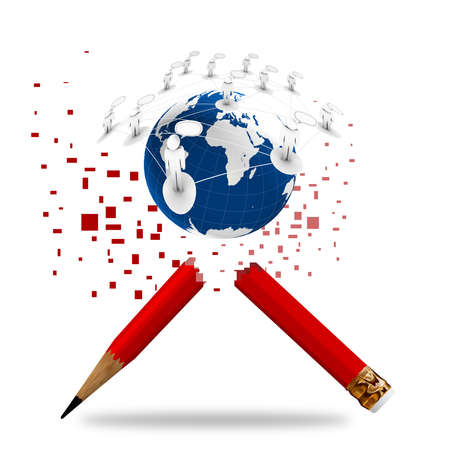 red pencil and social network as concept Stock Photo - 11588284