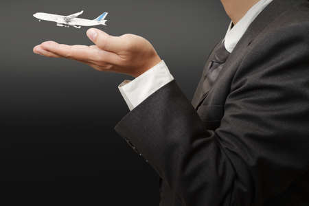 businessman hand show travelling concept Stock Photo - 11588291