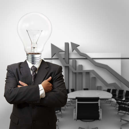 human energy: bulb man and his office as concept Stock Photo