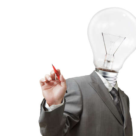 Businessman , light bulb head draws with red pen Stock Photo - 11739489