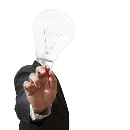 Businessman,light bulb head draws with red pen Stock Photo - 11739429