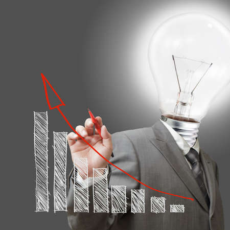 bulb man draw a chart business as concep Stock Photo - 11739660