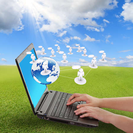 modern laptop and social network concept and blank buttons Stock Photo - 11739748