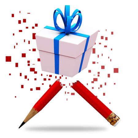 creative pencil with gift blue ribbon box photo