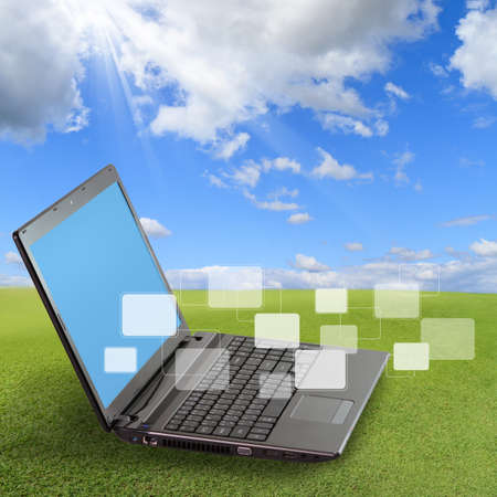 modern laptop and social network concept and blank buttons Stock Photo - 11739747
