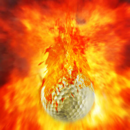 Golf ball on fire. photo