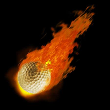golfball: Golf ball on fire. Illustration on black background Stock Photo