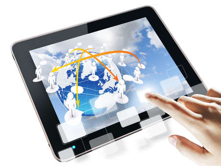hand pressing blank virtual button on touch screen tablet computer Stock Photo - 11931213