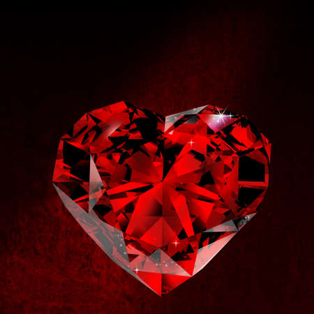 Shiny red diamond on dirt background photo