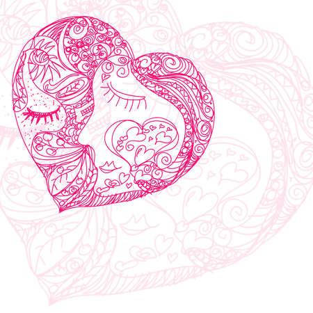 hand draw love heart