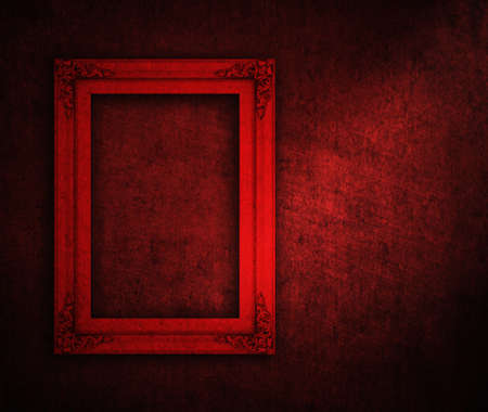picture frame on red paint wall Stock Photo - 12042515