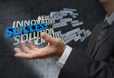 business hand shows 3d of success words photo