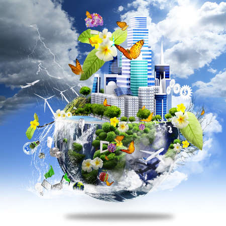 earth space: green city on the half earth