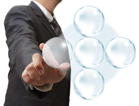 writing on glass: business hand drawing and blank bubble diagram Stock Photo