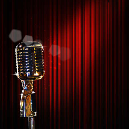 electronic music: retro microphone and red curtain