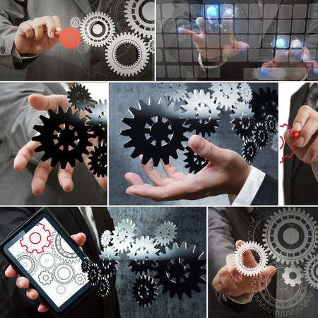 Businessman shows gear to success on white background Stock Photo - 12246795