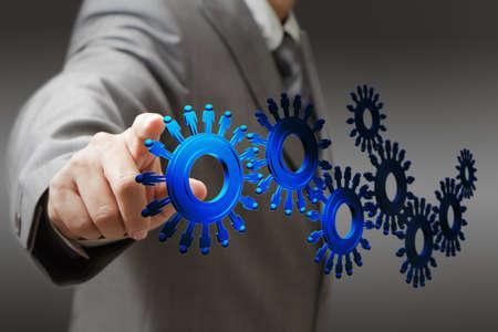 ressources humaines: homme d'affaires et les rouages ??des personnes comme concept