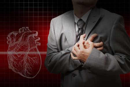 heart disease: Ataque al corazón y el corazón late de fondo cardiograma