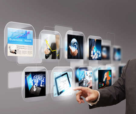 blue widescreen widescreen: hand reaching images streaming Stock Photo