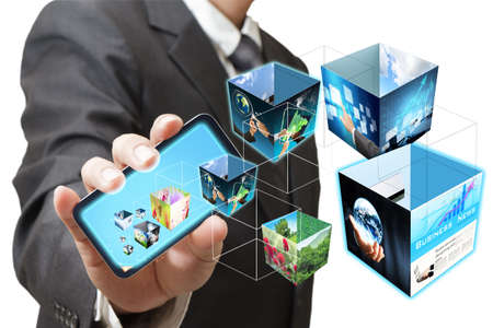 business hand shows touch screen mobile phone with 3d streaming images Stock Photo - 12601923