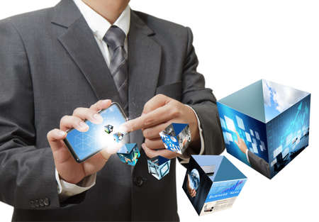 businessman using touch screen mobile phone streaming 3d images Stock Photo - 12601836