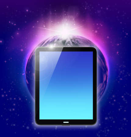 galactic: tablet pc on planet earth and sunrise background Stock Photo
