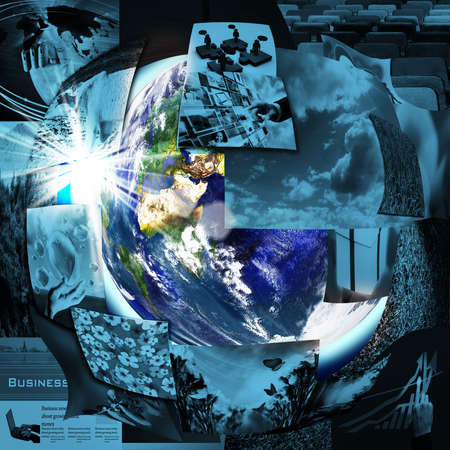 Illustrated montage of the earth with a global network  photo