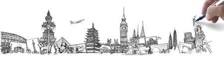 dibujar el sueño de viajar alrededor del mundo en una pizarra
