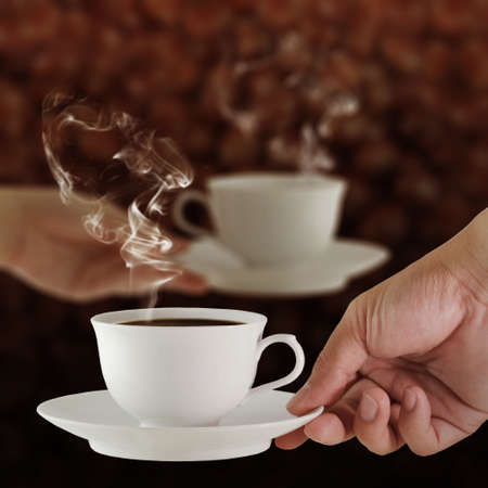 capuchino:  male and female hands, love and coffee