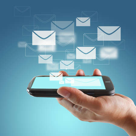 email communication: touch screen mobile phone Stock Photo