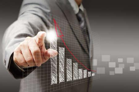 実業家の手のタッチ仮想グラフ、チャート、図 写真素材
