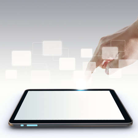 hand pointing on touch screen,touch-pad,and blank virtual buttons Stock Photo - 12602238