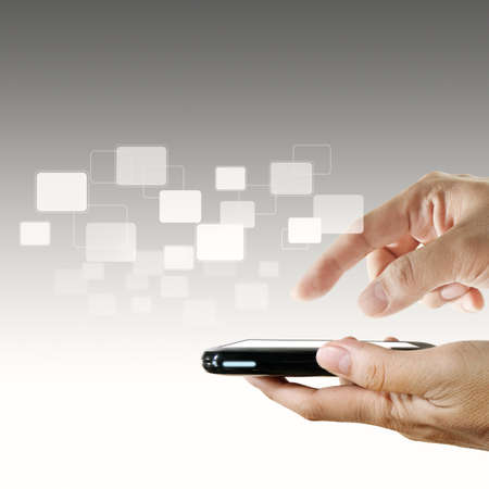 send sms: touch screen mobile phone and pointing hand