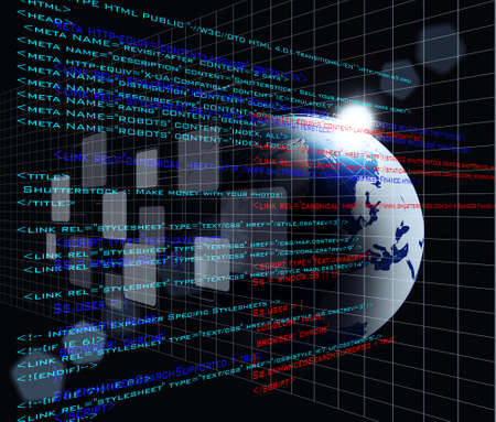 source code: Digital program code with earth globe background