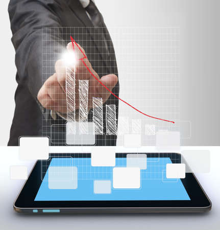 global economic crisis: businesswoman hand and grow graph