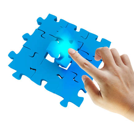 hand push last puzzle photo