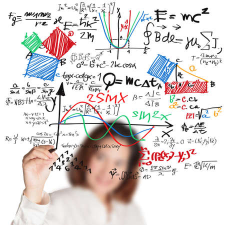 chemistry formula: female teacher writing various high school maths and science formula